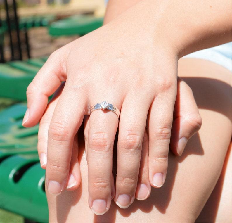 Square CZ Diamond Ring Diamond Solitaire Diamond Silver image 0