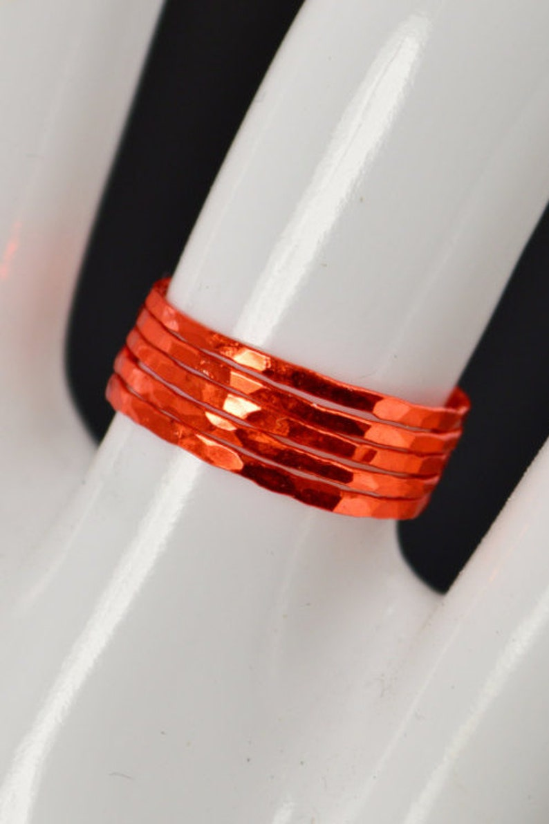 Super Thin Orange Silver Stackable Rings Orange Ring Stack image 0