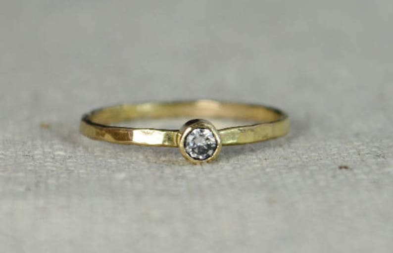 Classic 14k Gold Filled CZ Diamond Ring Gold solitaire image 0