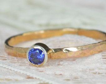 Sapphire Engagement Ring, 14k Rose Gold, Sapphire Wedding Ring Set, Rustic Wedding Ring Set, September Birthstone, Solid 14k Sapphire Ring