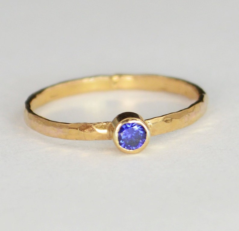Classic Solid 14k Rose Gold Sapphire Ring 3mm Solitaire image 0