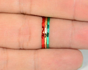 Set of 3 Super Thin Christmas Inspired Stackable Rings, Christmas Rings, Christmas Jewelry, Holiday Rings, Holiday Jewelry, Holiday Fashion