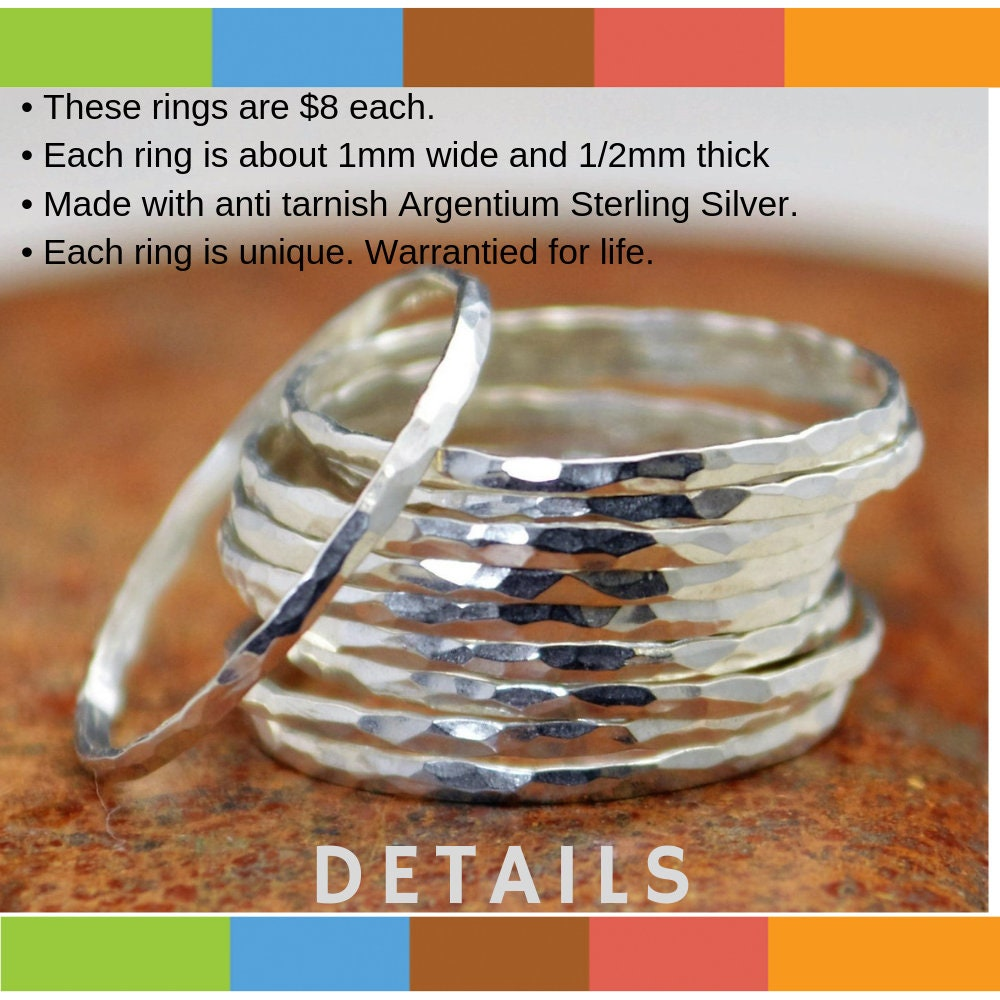 0cfcaf9c5 Super Thin Sterling Silver Stackable Ring(s), Silver Stacking RIngs, Silver  RIng Dainty Simple Silver Ring Hammered Silver Rings Silver Band