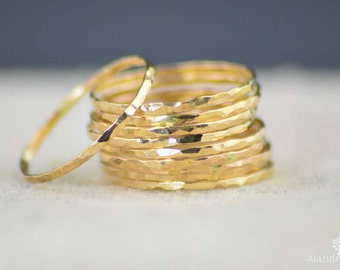 Set of 10 Super Thin 14k Gold Stackable Rings, 14k Gold Filled, Stacking Rings, Simple Gold Ring, Hammered Gold Rings, Dainty Gold Ring