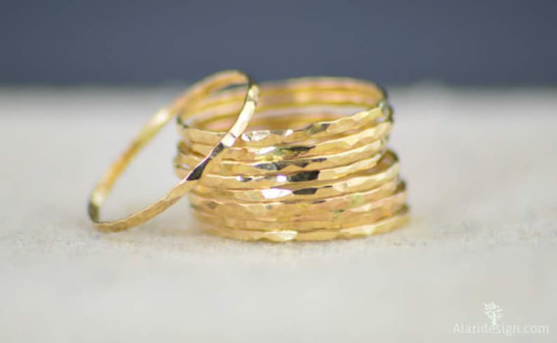 Set of 10 Super Thin 14k Gold Stackable Rings 14k Gold image 0
