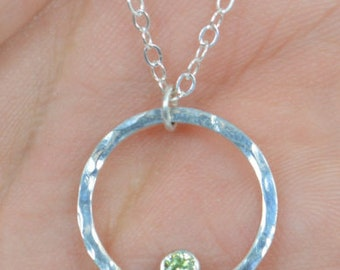 Sterling Silver Peridot Necklace, Mothers Necklace, Mom Necklace, August Birthstone Necklace, Peridot Necklace, Mother's Necklace, Peridot