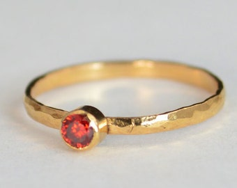 Classic Solid 14k Rose Gold Garnet  Ring, Gold Solitaire, Red Ring, Real Gold, January Birthstone, Mothers Ring, Solid Gold Band, Gold ring