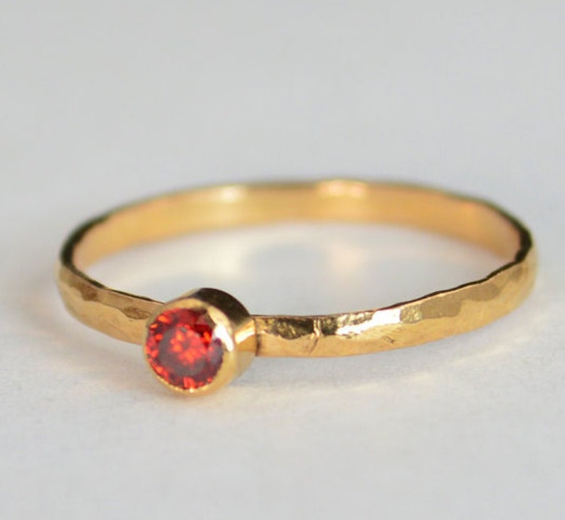 Classic Solid 14k Rose Gold Garnet  Ring Gold Solitaire Red image 0