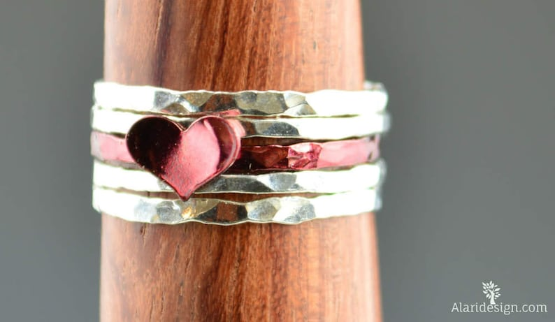 Red Heart Ring Sterling Silver Stacking Ring Personalized image 0