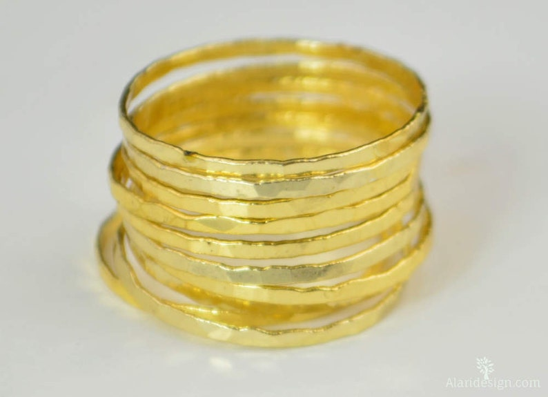 Super Thin Golden Silver Stackable Rings Thin Gold Ring image 0