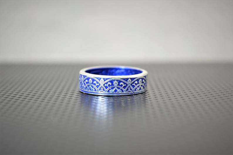 Moroccan Coin Ring Blue Coin Ring Stained Glass Ring Blue image 0
