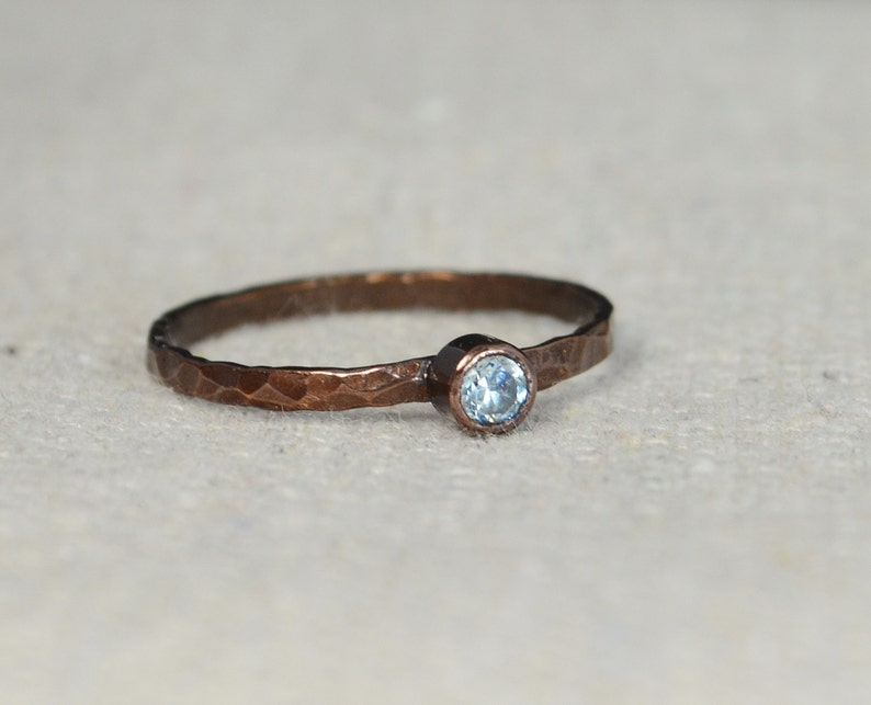 Bronze Copper Aquamarine Ring Classic Size Stackable Rings image 0