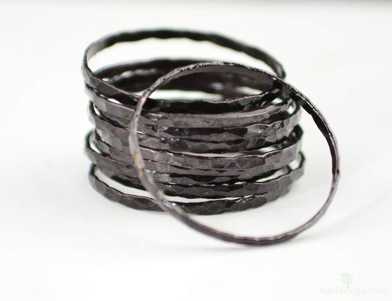 Super Thin Black Copper Stackable Rings Black Ring Skinny image 0