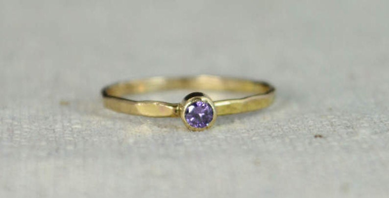 Classic 14k Gold Filled Amethyst Ring Gold Solitaire image 0