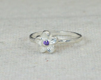 Small Flower Amethyst Ring, Silver Amethyst Ring, Flower Ring, Forget Me Not, Flower Jewelry, Sterling Flower Ring, Amethyst Floral Ring