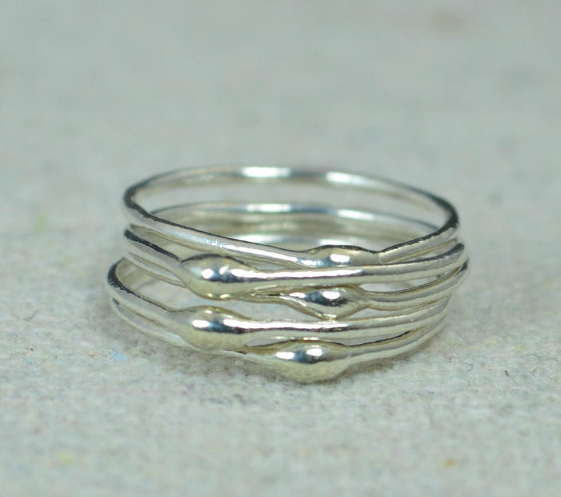 Unique Silver Stacking RingsSilver RingsHippie Rings Boho image 0