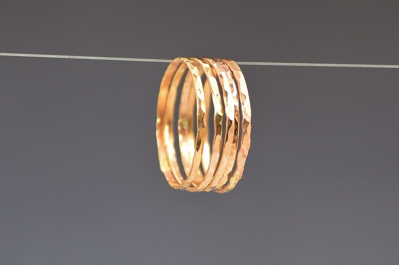 Set of 5 Super Thin Rose Gold Filled Rings Thin Rose Gold image 0