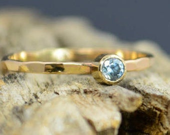 Classic Solid 14k Gold Aquamarine Ring, Gold Solitaire, Solitaire Ring, Real Gold, March Birthstone, Mothers Ring, Solid Gold Band, Gold