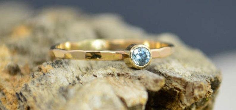 Classic Solid 14k Gold Aquamarine Ring Gold Solitaire image 0