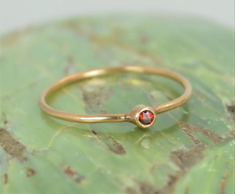 Tiny Garnet Ring 14k Solid Rose Gold Garnet Ring Garnet image 0