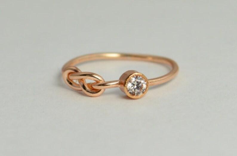 14k Rose Gold CZ Diamond Infinity Ring 14k Rose Gold image 0