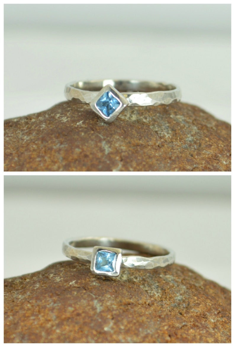 Square Aquamarine Ring Aquamarine White Gold Ring March image 0