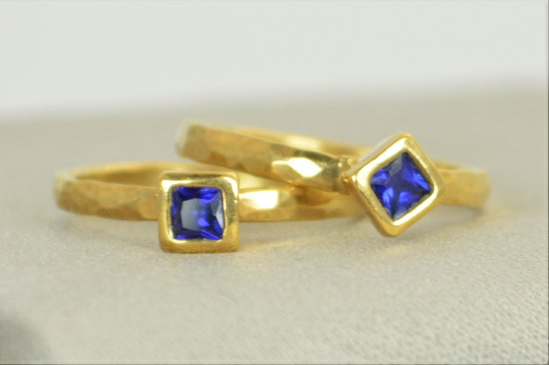 Square Sapphire Ring Sapphire  Gold Ring September's image 0