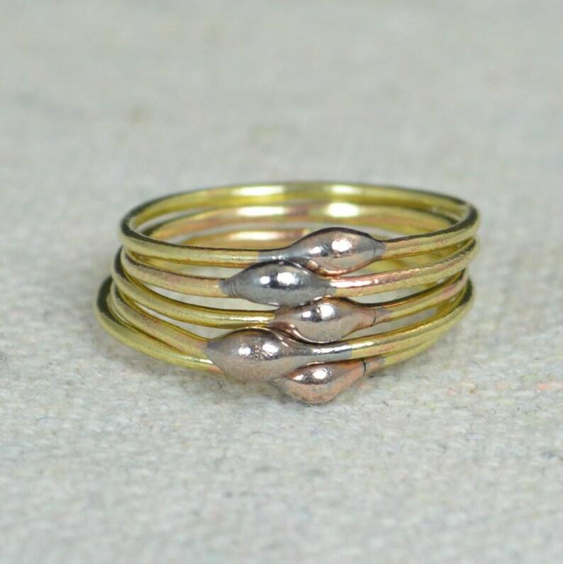Unique Brass Stacking Rings Bimetal Ring Hippie Ring Boho image 0