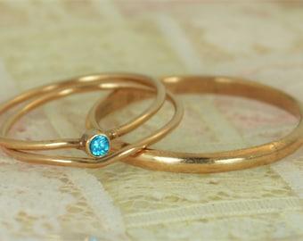 Tiny Blue Topaz Ring Set, Solid 14k Rose Gold Wedding Set, Stacking Ring, Solid 14k Gold Ring, December Birthstone, Bridal Set, Blue Topaz