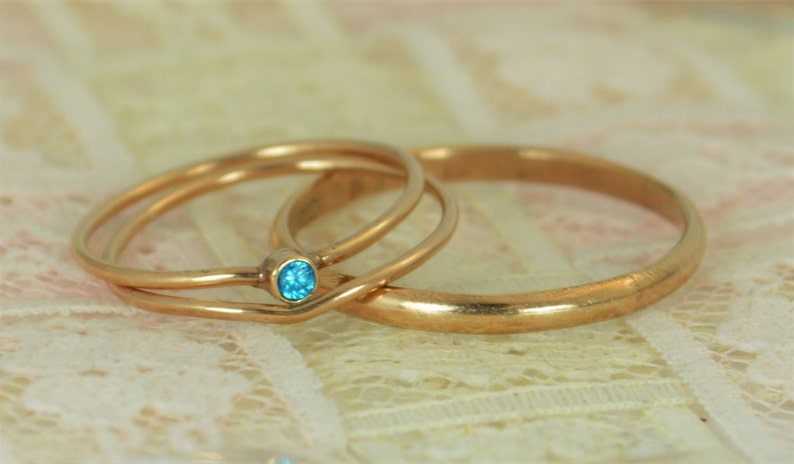 Tiny Blue Topaz Ring Set Solid 14k Rose Gold Wedding Set image 0