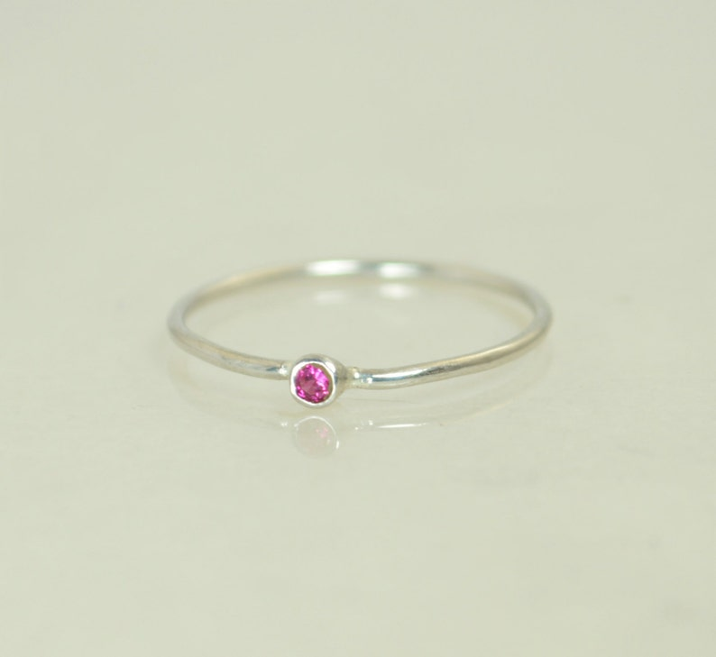 Tiny Ruby Ring Ruby Stacking Ring White Gold Ruby Ring Ruby image 0