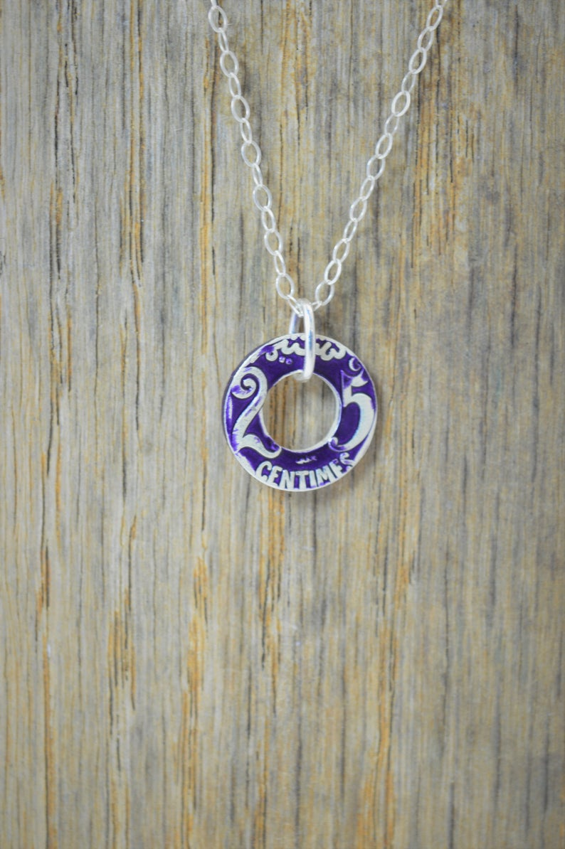 Moroccan Coin Necklace Purple Coin Necklace Coin Art image 0