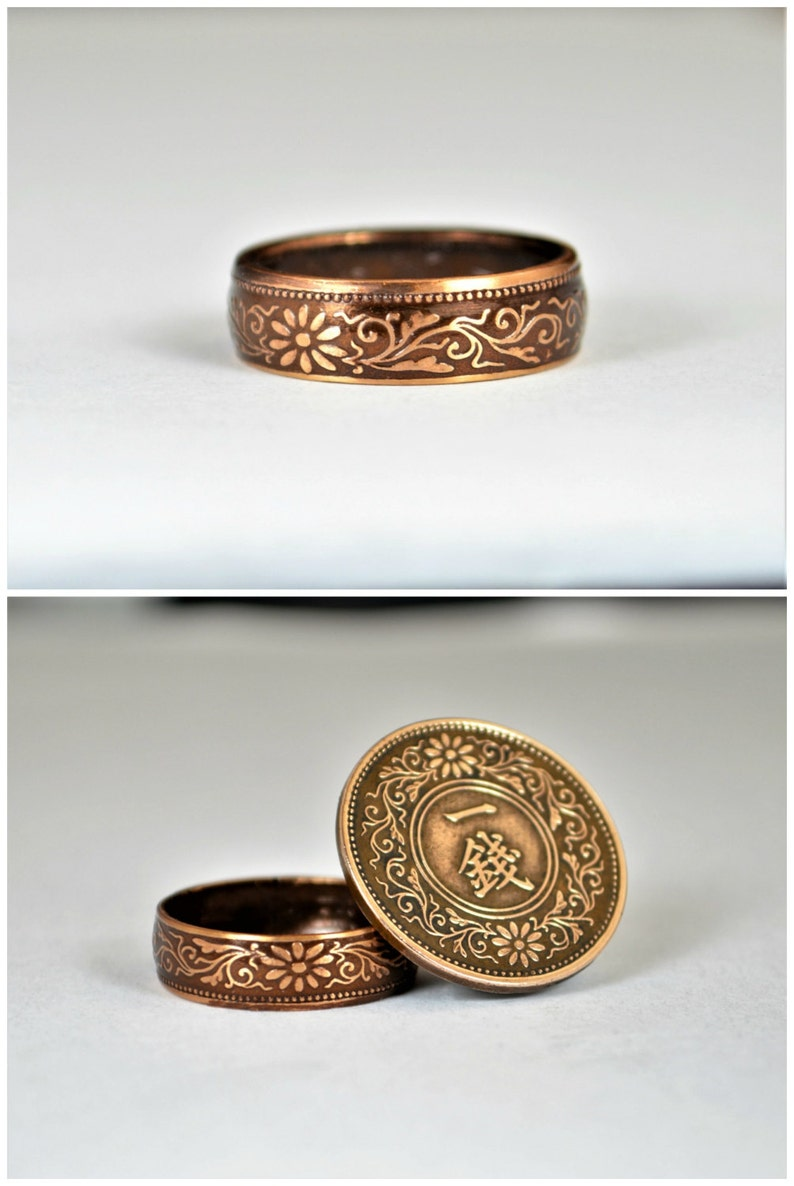 Japanese Ring Brown Ring Japanese Coin Ring Coin Ring image 0