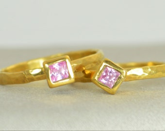 Square Pink Tourmaline Ring, Tourmaline Gold Ring, Octobers Birthstone Ring, Square Stone Mothers Ring, Square Stone Ring