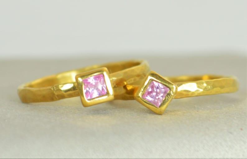 Square Pink Tourmaline Ring Tourmaline Gold Ring Octobers image 0