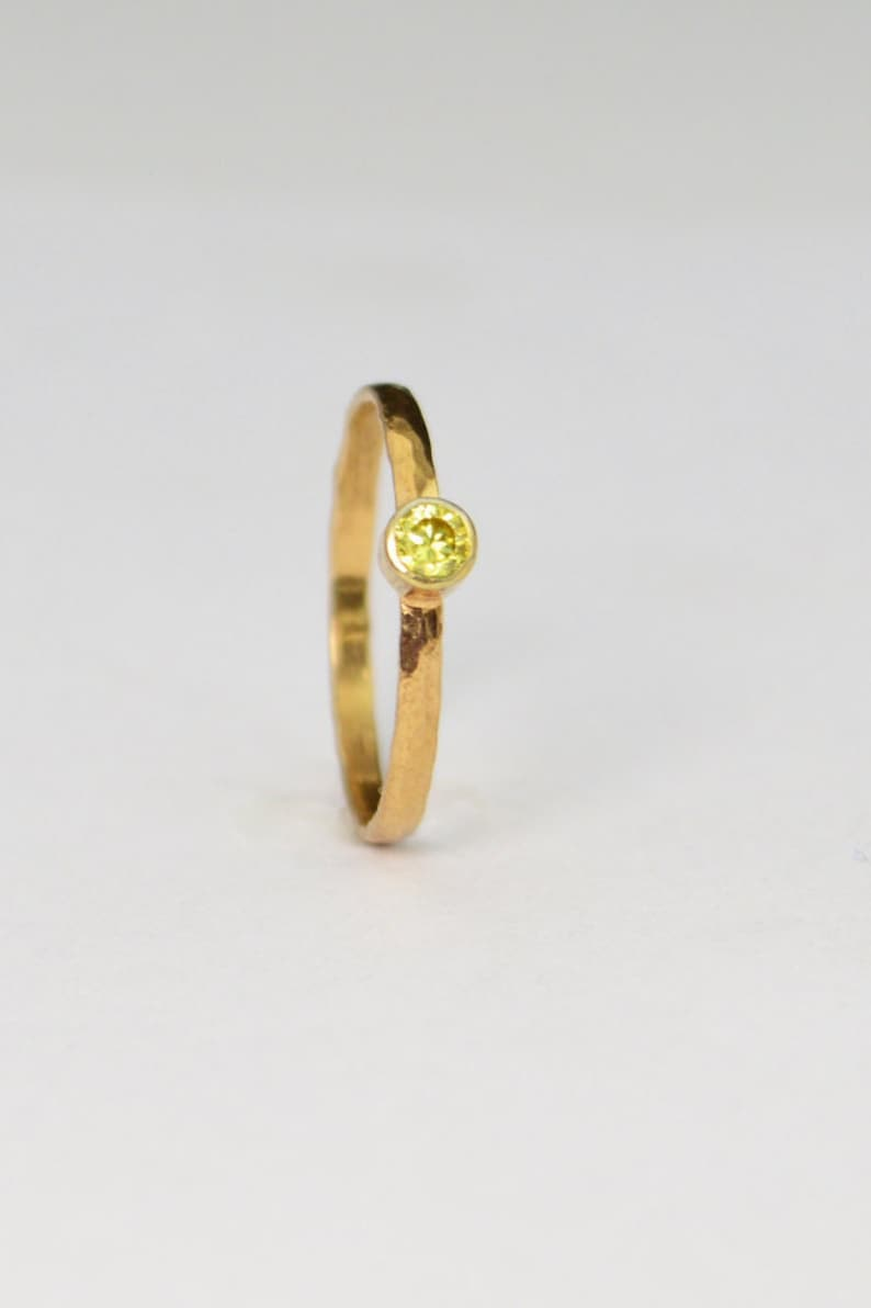 Classic Solid 14k Rose Gold Topaz Ring 3mm Solitaire image 0