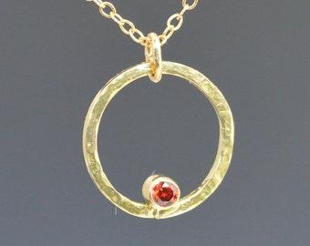 Solid 14k Gold Garnet Necklace, Mothers Necklace, Mom Necklace, January Birthstone Necklace, Garnet Necklace, Mother's Necklace, Garnet