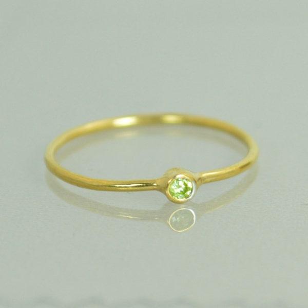 Tiny Peridot Ring Peridot Stacking Ring Solid 14k Gold image 1