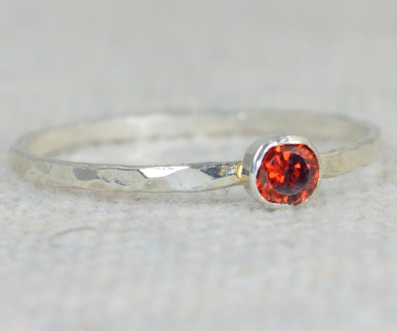 Dainty Garnet Ring Hammered Silver Stackable Rings image 0