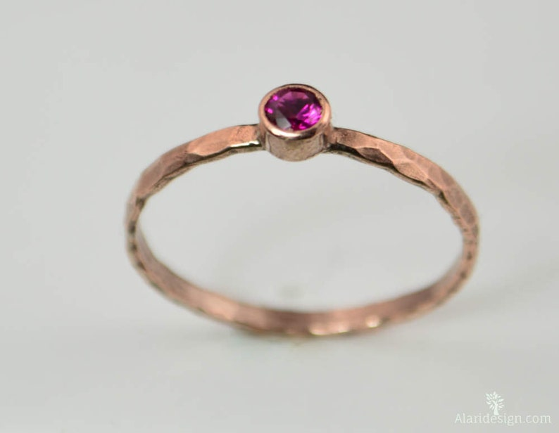 Copper Ruby Ring Classic Size Stackable Rings Ruby image 0