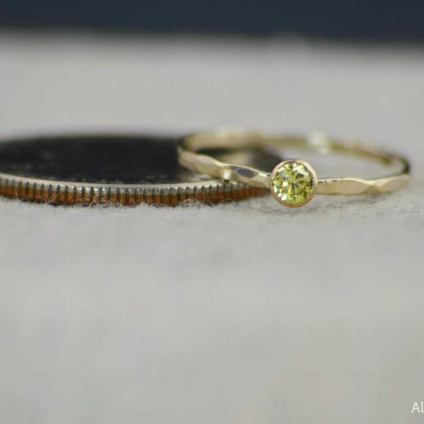 Dainty Gold Filled Topaz Ring Hammered Gold Stacking Rings image 3
