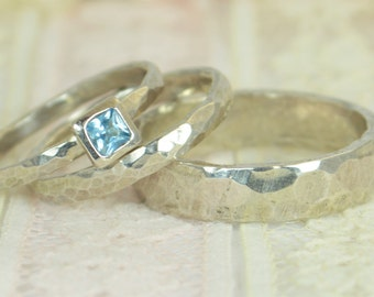 Square Aquamarine Engagement Ring, 14k White Gold, Aquamarine Wedding Ring Set, Rustic Wedding Ring Set, March Birthstone, Solid Gold