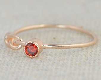 Garnet Infinity Ring,  Rose Gold Filled Ring, Stackable Rings, Mother's Ring, January Birthstone Ring, Rose Gold  Ring, Rose Gold Knot Ring