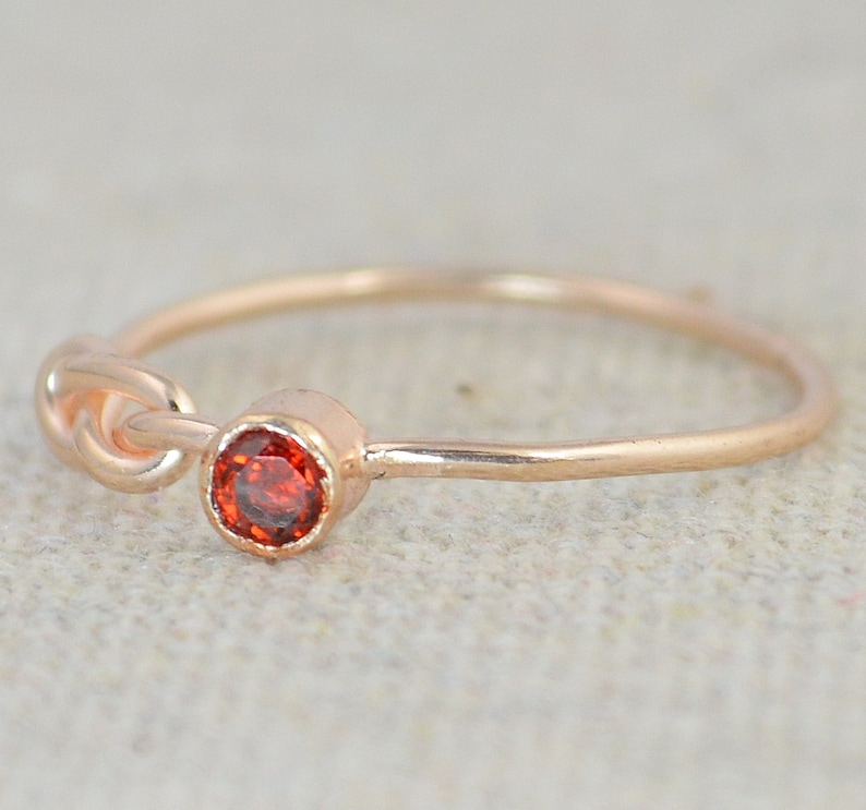 Garnet Infinity Ring  Rose Gold Filled Ring Stackable Rings image 0