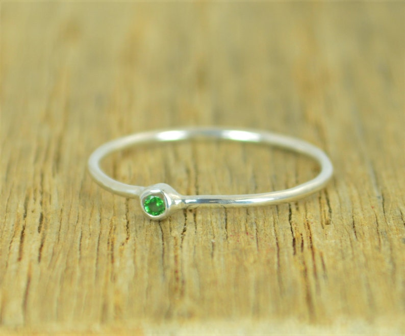 Tiny CZ Emerald Ring Emerald Silver Ring Minimal Silver image 0
