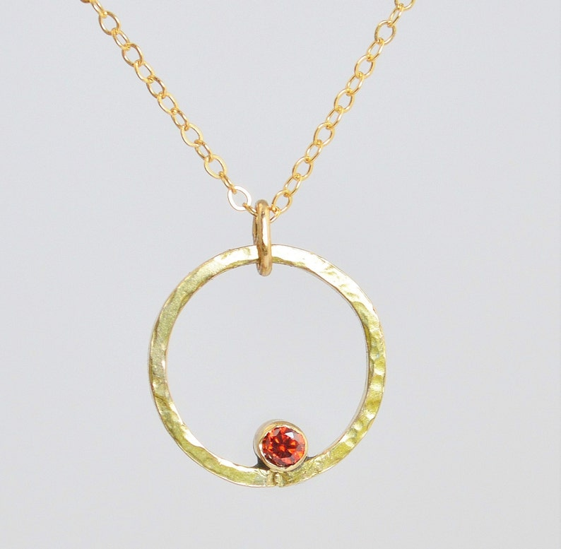 Gold Filled Garnet Necklace Mothers Necklace Mom Necklace image 0
