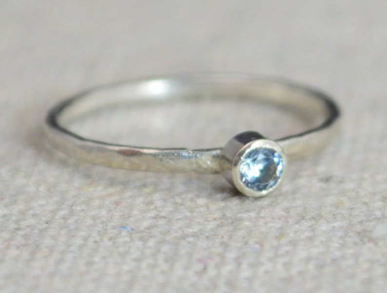 Classic Sterling Silver Aquamarine Ring Silver Solitaire image 0