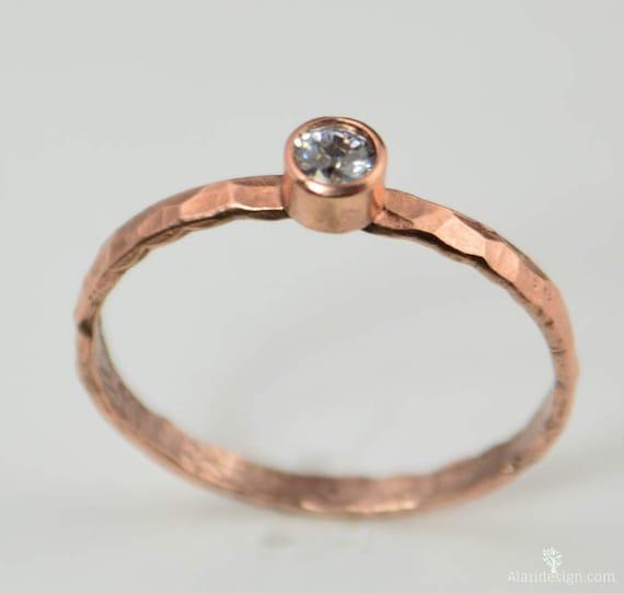 CZ Diamond Mothers Ring Dainty Copper CZ Diamond Ring Pure Copper Copper Jewelry CZ Diamond Jewelry Hammered Copper Aprils Birthstone