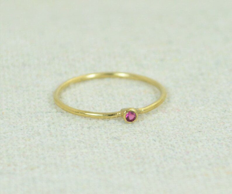 Tiny Ruby Ring Ruby Stacking Ring Gold Filled Ruby Ring image 0