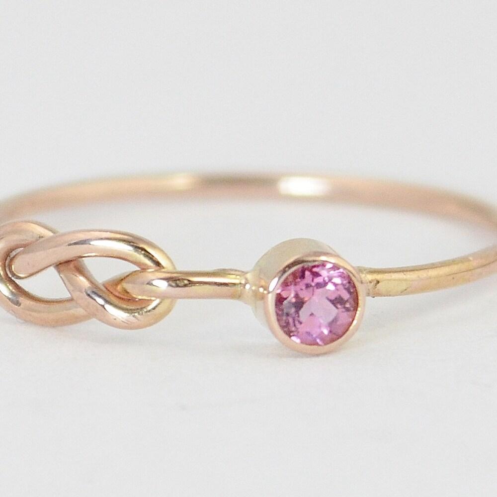 14k Rose Gold Pink Tourmaline Infinity Ring 14k Rose Gold image 0
